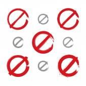 Set of hand-drawn simple vector prohibition icons, collection of — Stock Vector
