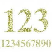 Floral numbers set, vintage style numerals, vector set. — Stock Vector
