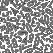 Seamless numbers background, monochrome vector seamless pattern. — Stock Vector