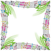 Music notes composition, musical theme background, vector illust — Stock Vector