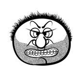 Angry cartoon face with stubble, black and white vector illustra — Stock Vector