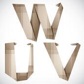 Origami style vector letters U V W. — Stok Vektör