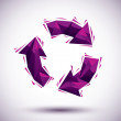 Violet recycle geometric icon made in 3d modern style, best for — Stock Vector #58963815