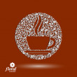Flower-patterned cup of coffee with aromatic steam. Rendezvous t — Stock Vector #58968831