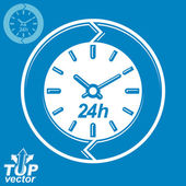 Graphic web vector 24 hours timer, around-the-clock flat pictogr — Vector de stock