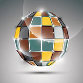 Party 3D metal gold twinkle ball created from geometric figures. — Stockvektor