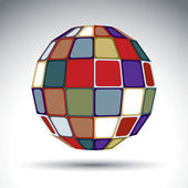 Bright spherical object, dimensional modern object with kaleidos — Vector de stock