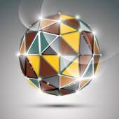 Abstract 3D colorful twinkle sphere with sparkles, metal preciou — Stock Vector