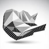 Decorative distorted unusual eps8 figure with parallel black lin — Stockvektor