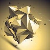 3D gold futuristic style abstract background, origami asymmetric — Stock Vector
