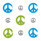 Set of hand drawn simple colorful vector peace icons, collection — Vettoriale Stock