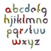 Vector bright comic font, handwritten watercolor lowercase lette — Stock Vector