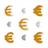 Collection of hand-painted yellow Euro icons isolated on white b — Stock Vector