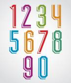 Colorful decorative geometric narrow thin numbers with white out — Stock Vector