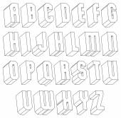 Geometric black and white 3d font made with thin lines. — Stockvektor