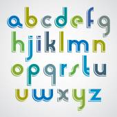 Colorful cartoon font, rounded lower case letters with white out — Stockvektor