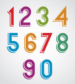 Colorful cartoon rounded numbers with white outline. — Stock Vector