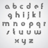 Pattern wavy black fashionable font, lower case letters. — Stock vektor