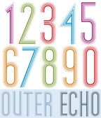 Poster echo condensed colorful light numbers with stripes on whi — Stock Vector
