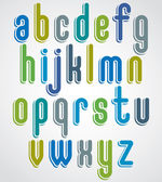 Rounded cartoon colorful lowercase letters with white outline, j — 图库矢量图片