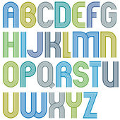 Large parallel colorful uppercase letters with rounded corners, — Stockvektor