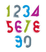 Handwritten contemporary vector digit set, doodle hand-painted n — Stock Vector