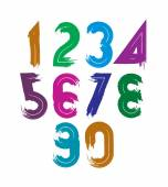 Handwritten vector numbers isolated on white background, painted — Stock Vector