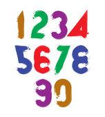 Vector stylish brush digits, handwritten numerals, sans serif nu — Stock Vector