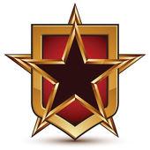 Glamorous vector template with pentagonal golden star symbol pla — Stock Vector