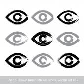 Set of hand-drawn stroke human eye icons, collection of brush dr — Stock Vector