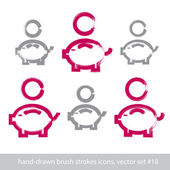 Set of hand-drawn pink piggybank icons, stroke brush drawing coi — Stock Vector