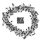 Vector black rounded stave with musical notes on white backgroun — Stock Vector