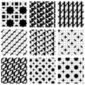 Set of grate seamless patterns with geometric figures, ornamenta — Stock Vector