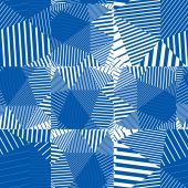 Geometric messy squared lines seamless pattern, blue vector fray — Vecteur