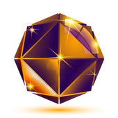 Vector gold 3d futuristic art sparkling object, radiance plastic — Stock Vector