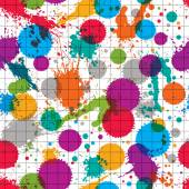 Vector ink splash seamless pattern with rounded overlap transpar — Stock Vector