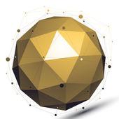 Gold abstract technological 3D vector network object, art spheri — Stock Vector