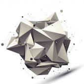 3D mesh modern asymmetric abstract object, origami futuristic sy — Stock Vector