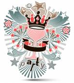 Joyful holiday background with stylized 3d monarch crown placed — Stock Vector