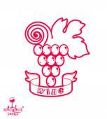 Stylized grape vine vector illustration. Winery symbol best for — Stock Vector