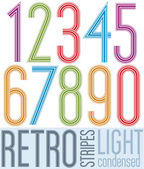 Poster light retro condensed colorful numbers with stripes on wh — Vetorial Stock