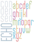 Poster echo light striped font, bright transparent condensed low — Stock Vector