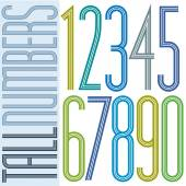 Poster tall colorful striped numbers on white background. — Stockvector