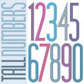 Plakát vysoké barevné pruhované čísla na bílém pozadí. — Stock vektor