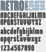 Retro striped black and white font and numbers with outline, bol — Cтоковый вектор