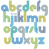 Colorful lowercase letters with rounded corners, animated spheri — Stockvektor