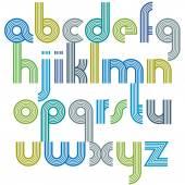 красочные строчные буквы с закругленными углами, оживляемой сферой — Cтоковый вектор