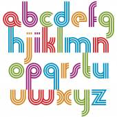 Bright lowercase letters with rounded corners, animated spherica — Διανυσματικό Αρχείο