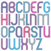 Rounded big jolly parallel cartoon uppercase letters, colorful f — Stock Vector