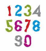 Handwritten colorful vector numbers, stylish numbers set drawn w — Stock Vector